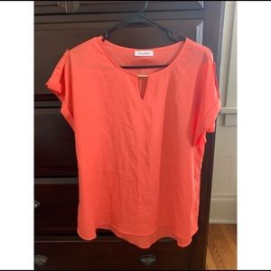 Calvin Klein Short Sleeve Coral Blouse Size Small